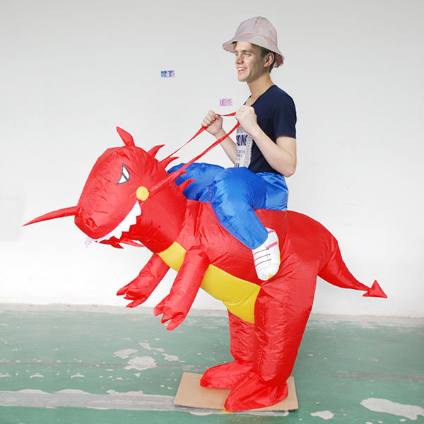 DANXEN Adult Red Inflatable Dinosaur Costume Dino Rider T-Rex