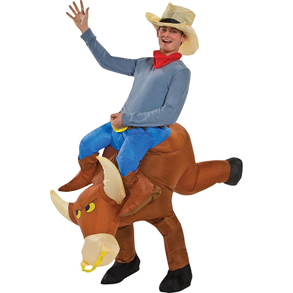 DANXEN Adult Brown Inflatable Cowboy Bull Motor Costume