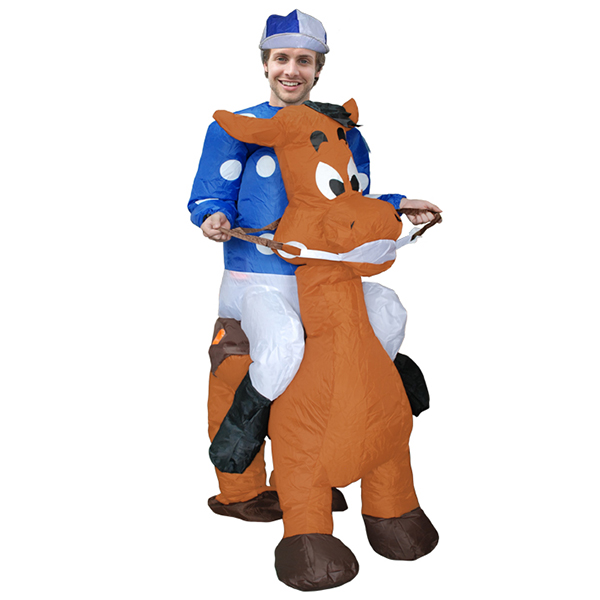 DANXEN Adult Blown Inflatable Carry Me Horse Racing Jockey Costume