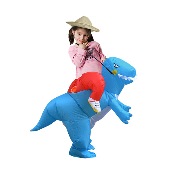 DANXEN Kids Inflatable Blue Dinosaur Costume Children
