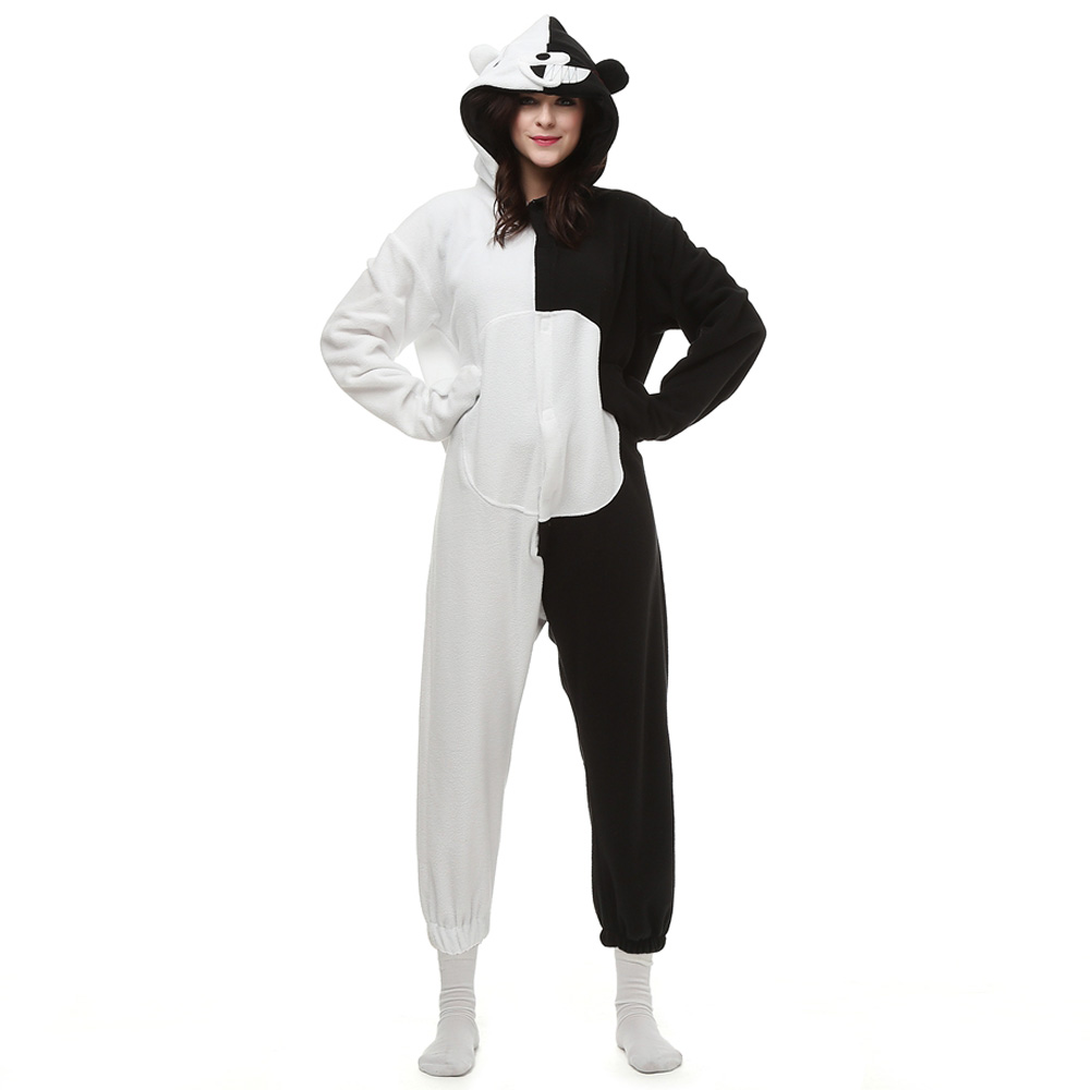DANXEN Black White Bear Kigurumi Unisex Fleece Pajamas Onesie