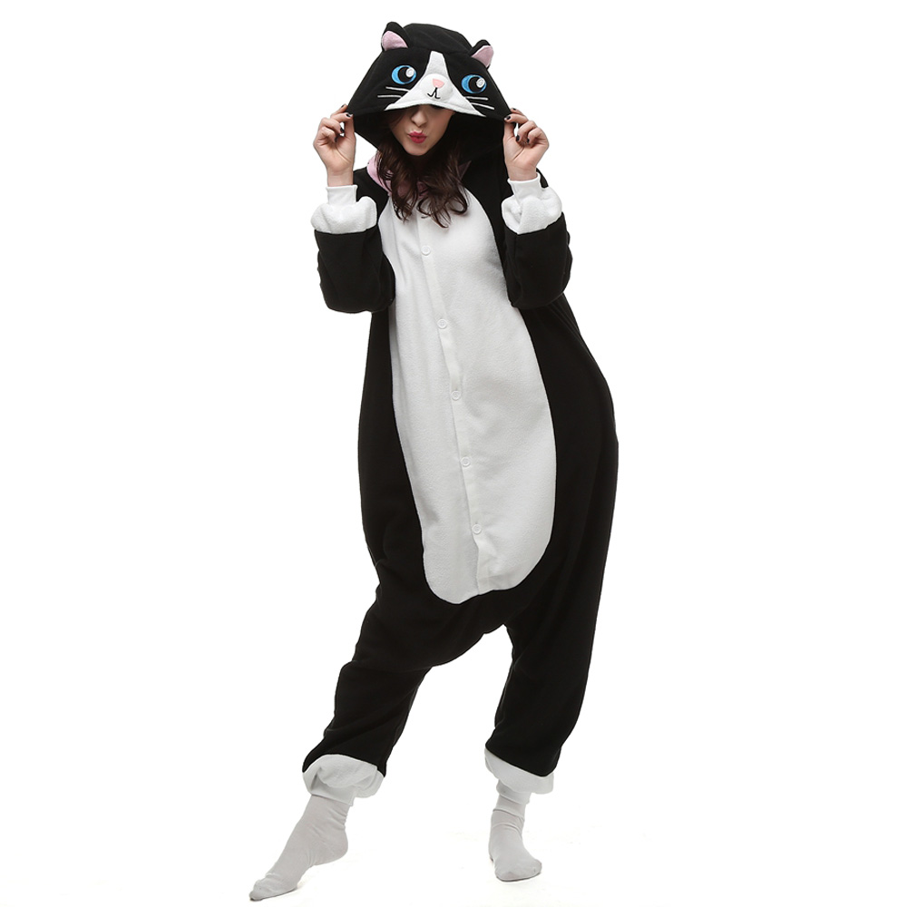 DANXEN Black Cat Kigurumi Unisex Fleece Pajamas Onesie