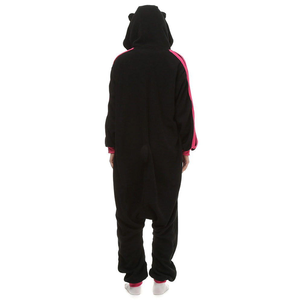 DANXEN Black KT Cat Kigurumi Unisex Fleece Pajamas Onesie